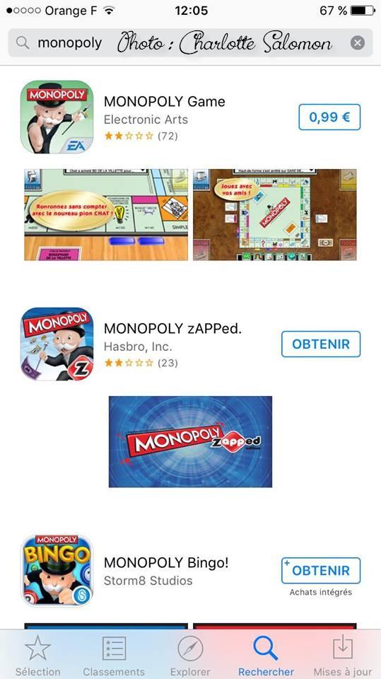 Capture d'écran des différentes versions de Monopoly disponibles sur l'Apple Store.